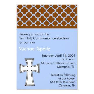 Blue First Holy Communion Invitation