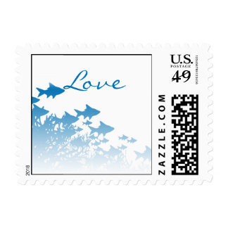 Blue Fish and Coral Postage Stamp