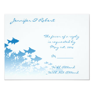 Blue Fish and Coral Response Card Invites