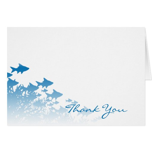 Blue Fish And Coral Thank You Card Zazzle