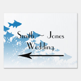Blue Fish and Coral Wedding Direction Sign