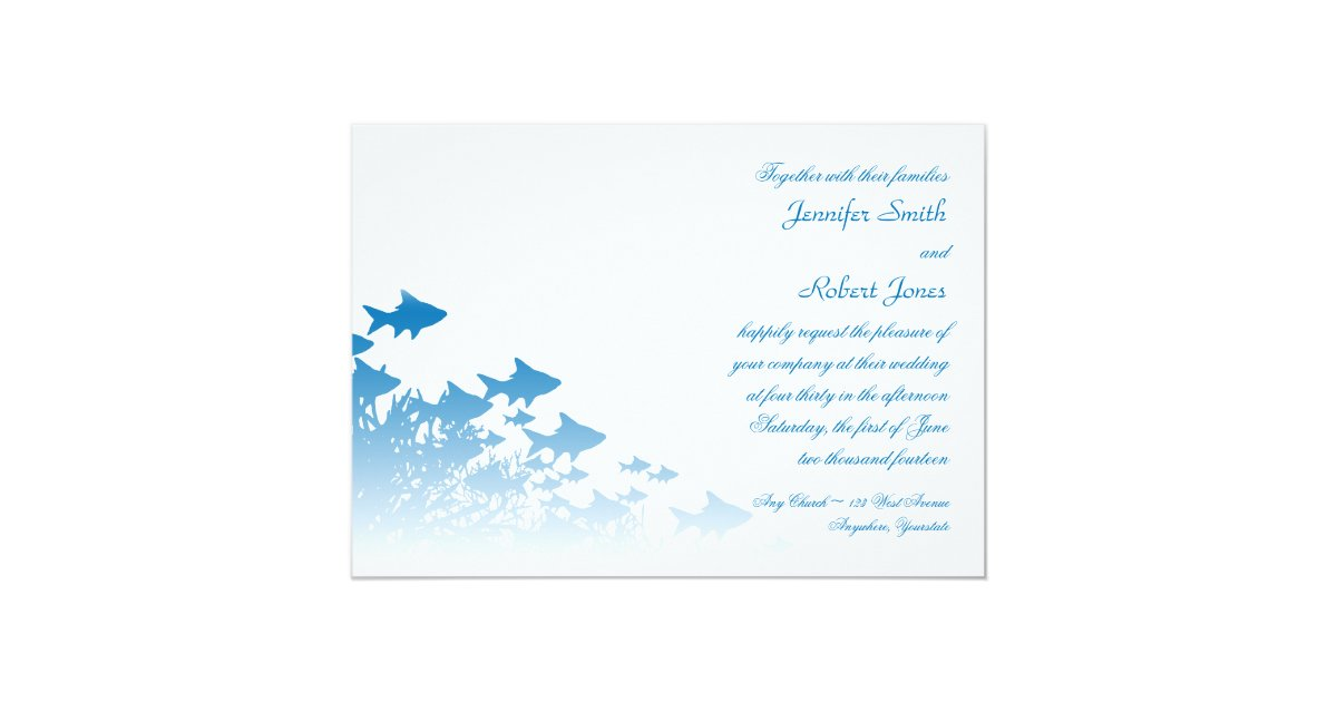 Blue And Coral Wedding Invitations: Blue Fish And Coral Wedding Invitation