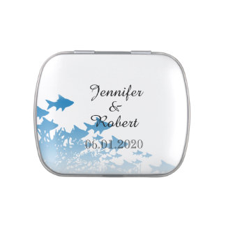 Blue Fish and Coral Wedding Jelly Belly Candy Tin