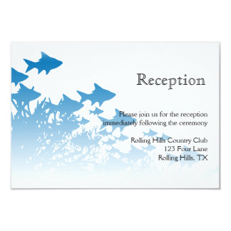 Blue Fish and Coral Wedding Reception 3.5x5 Paper Invitation Card