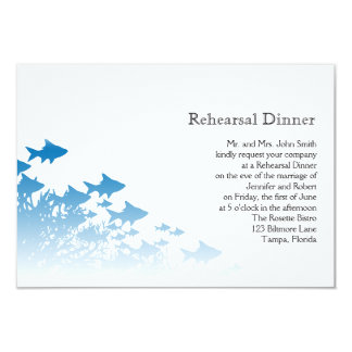 Blue Fish and Coral Wedding Rehearsal 3.5x5 Paper Invitation Card