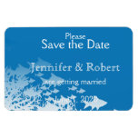 Blue Fish and Coral Wedding Save the Date Flexible Magnet