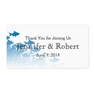 Blue Fish and Coral Wedding Water Bottle Label