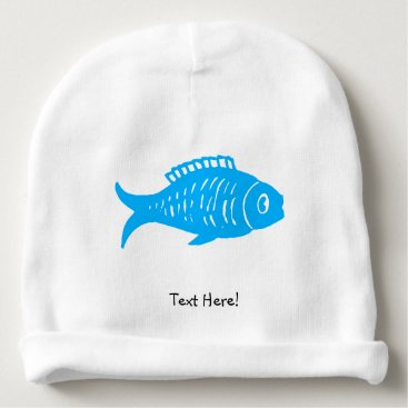 Beach Themed Blue Fish Baby Beanie