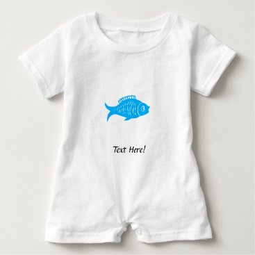 Beach Themed Blue Fish Baby Romper