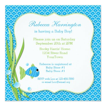 Toddler & Baby themed Blue Fish Baby Shower Invitation