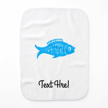 Beach Themed Blue Fish Burp Cloth