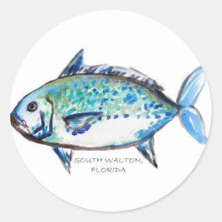Blue Fish by Julia Classic Round Sticker