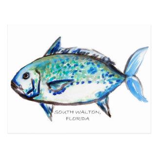 Blue Fish by Julia Postcards