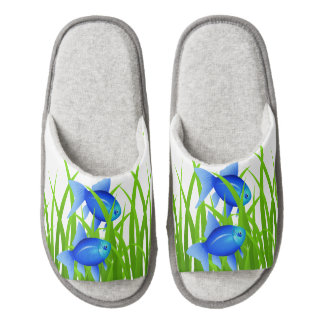 Blue Fish Colorful Animal Print Pair Of Open Toe Slippers