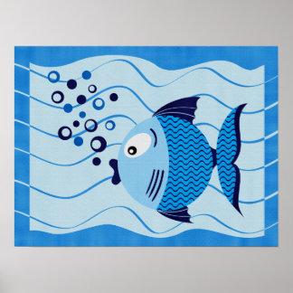 Blue Fish Composition Canvas Print