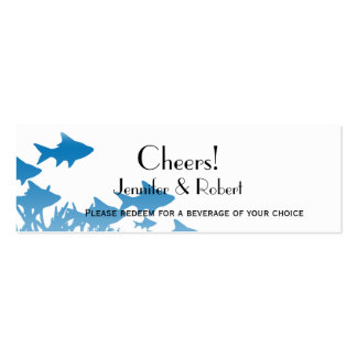 Blue Fish Coral Wedding Drink Tickets Business Cards