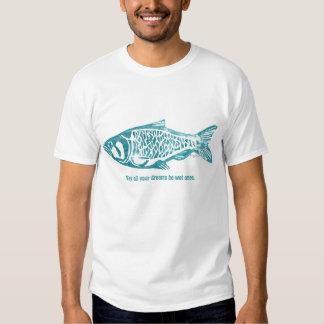 Blue Fish Design Lino Block Print T Shirts