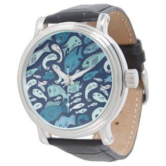 Blue Fish Globe Watch