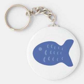 blue fish icon basic round button keychain