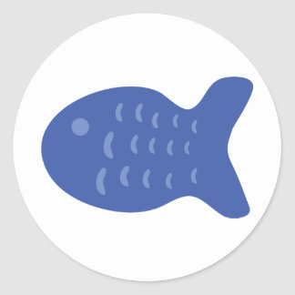 blue fish icon classic round sticker