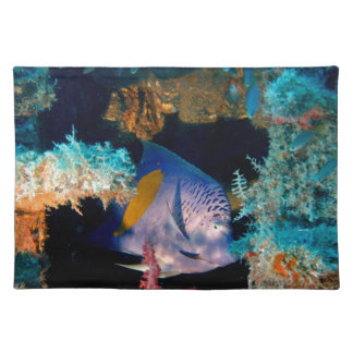 blue fish in coral reef cloth place mat