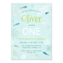 Blue Fish Kids Birthday Party Card