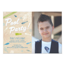 Blue Fish Kids Birthday Pool Party Card