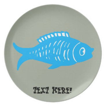 Beach Themed Blue Fish Melamine Plate