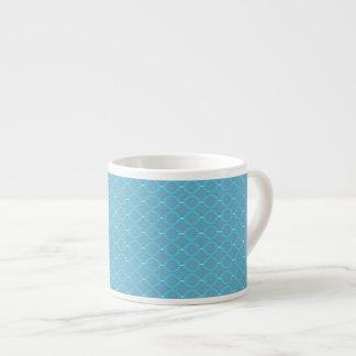 Blue Fish Net Espresso Mug 6 Oz Ceramic Espresso Cup