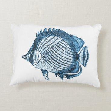 Beach Themed Blue fish ocean nautical coastal home decor decorative pillow