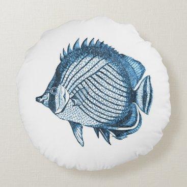 Beach Themed Blue fish ocean nautical coastal home decor round pillow