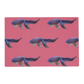 blue fish on pink place mat