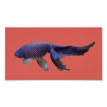 Beach Themed blue fish on pink poster