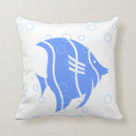 blue  fish  on  white  PILLOW