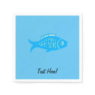 Beach Themed Blue Fish Paper Napkin