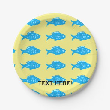Beach Themed Blue Fish Paper Plate