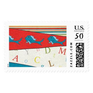 Blue Fish Postage Stamp