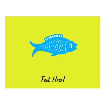 Beach Themed Blue Fish Postcard