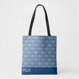 Blue Fish Scales Monogram Tote Bag