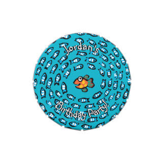 Blue Fish School Pattern with Small Orange Fish Candy Tin