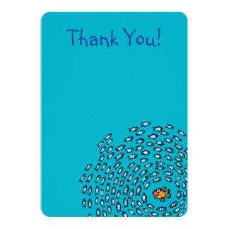 Blue Fish School Pattern with Small Orange Fish Card