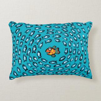 Blue Fish School Pattern with Small Orange Fish Decorative Pillow