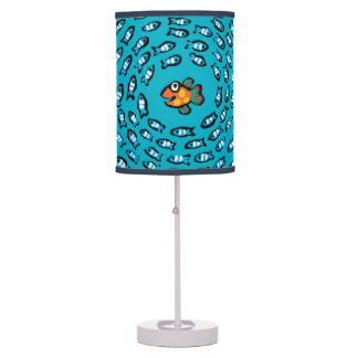 Blue Fish School Pattern with Small Orange Fish Desk Lamp