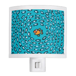 Blue Fish School Pattern with Small Orange Fish Night Light
