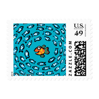 Blue Fish School Pattern with Small Orange Fish Postage