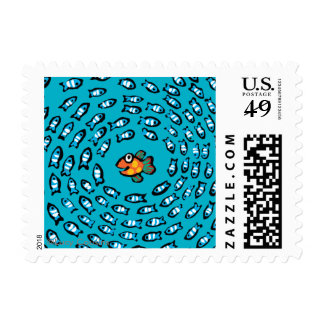 Blue Fish School Pattern with Small Orange Fish Postage