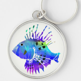 Blue Fish Silver-Colored Round Keychain