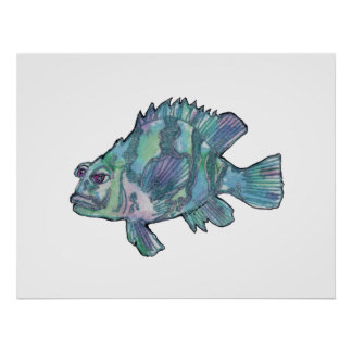 Blue Fish Sparkly Children's Wall Art Poster