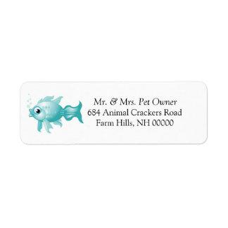 Blue Fish Theme Return Address Labels Stickers