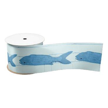 Beach Themed Blue fish Thunder_Cove white Satin Ribbon